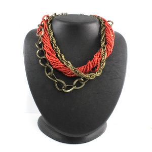 Gold Over Seed Bead Torsade & Multi chain necklace